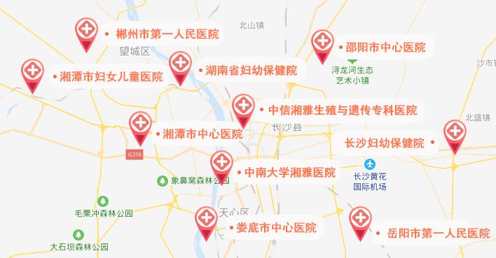 湖南试管婴儿医院地图